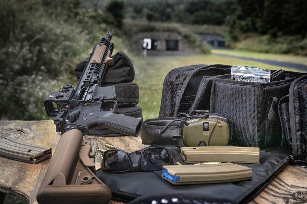 Range Bag, Range Bag at Gun Range, BlackHeart Range Bag, Range Bag with Firearm and Accessories, Range Day